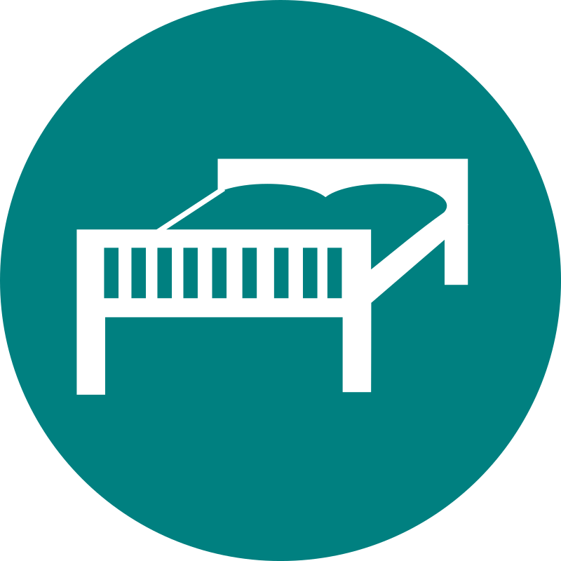 Bed by rootworks - a simple round icon with a bed symbol. Can be used in set for accommodation or travel communication