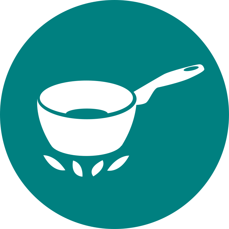 cooking by rootworks - a simple round icon of a pot on a stove to show that cooking facilities are available. Can be used for self catering or accommodation communications where cooking is available