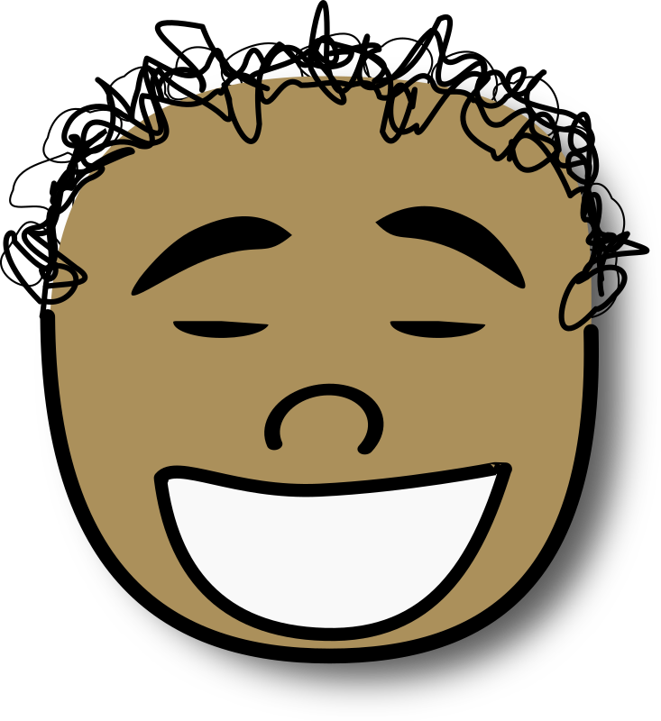 Ale riendo by alepando - Laughing comic face with curly hair. Ale called