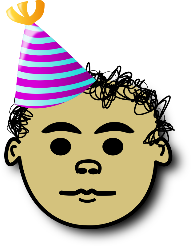 Ale cumple by alepando - Comic face with Birthday hat and curly hair. Ale called