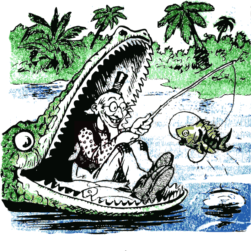 fishing in the gator's mouth by j4p4n - A man sits in an alligators mouth and fishes. Uh huh. Yeah. It's all that and more. What an odd idea for an image. Synthesized and colorized from an old 1905 insane comic. Really, what were they thinking?