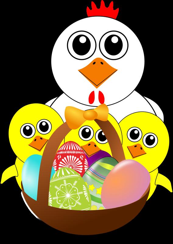 Ausmalbild: Lustige Henne mit Kücken im Osterkorb