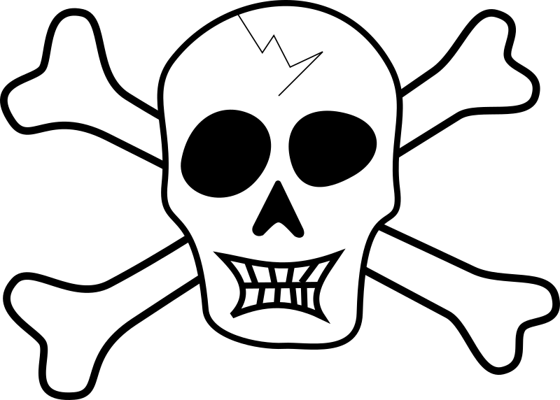 Pirate Skull by tribut - A b/w pirate-ish skull with two bones crossed behind.