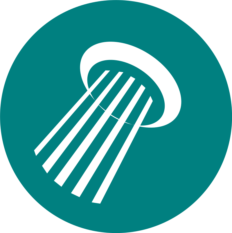 Shower by rootworks - Simple round icon of a shower head. Can be used with other icons within context of accommodation facilities.