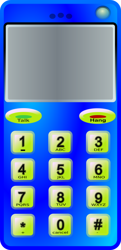 slim cell phone by Anonymous - A blue cellphone with bright green keys.