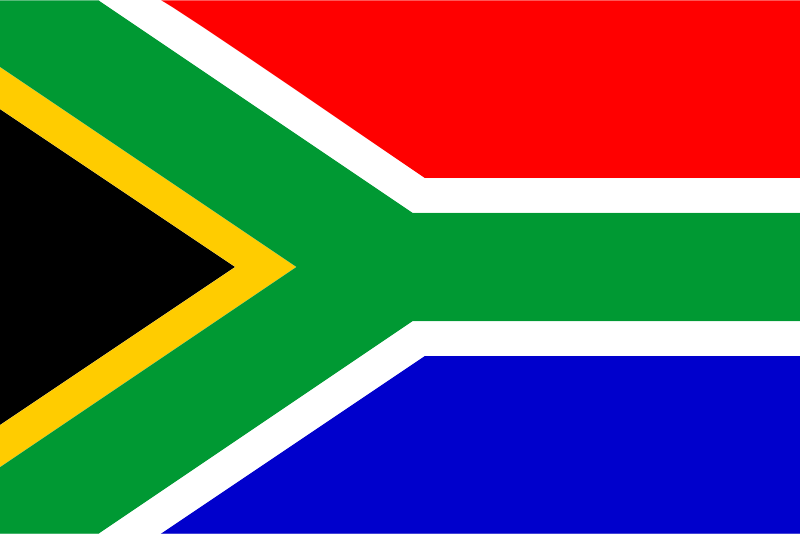 Flag of South Africa by Anonymous - The brightly colored flag of South Africa.