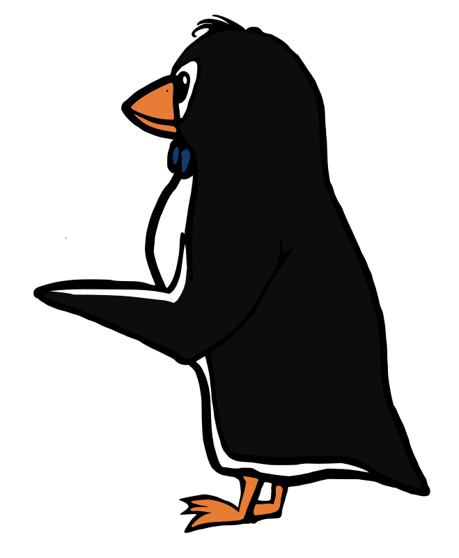 Pointing Penguin by Moini - Penguin holding out a wing, can be used to point to something or to manipulate image to make him hold something, like flowers or a gift.