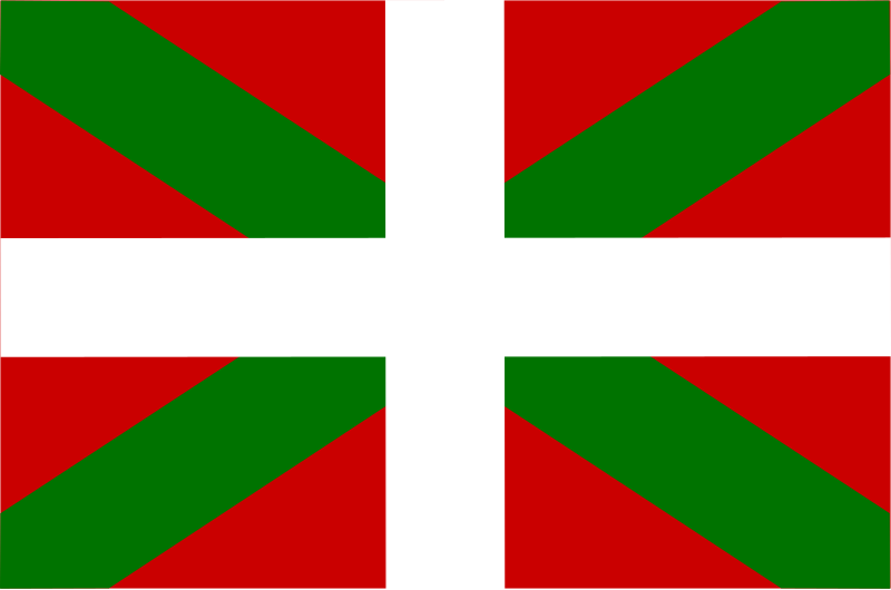 Flag of Basque - Spain by Anonymous - The flag of Basque, Spain is greenandred,with white horizontal and vertical stripe.