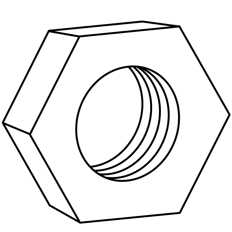 hex nut for bolts by ecloud - Drawn from scratch in Inkscape.