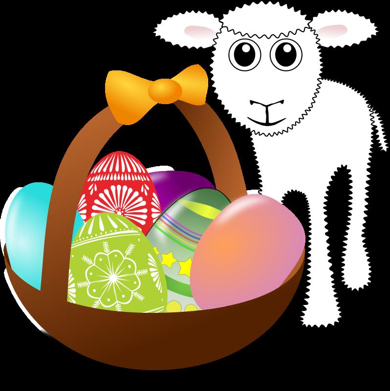 Ausmalbild: Kleines Schaf zum ausmalen mit Ostereiern