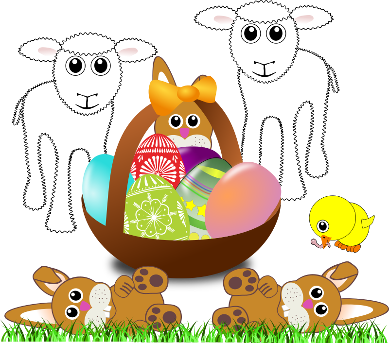 "Funny lambs, bunnies and chick with Easter eggs in a basket by palomaironique - Funny lambs, bunnies and chick with Easter eggs in a basket - Agneaux, lapereaux et poussin avec un panier d'oeufs de Pâques - Funny Lämmer, Hasen und Küken mit Ostereiern in einem Korb - Agnelli, coniglietti e pulcino con un cesto di uova di Pasqua (partially remixed from ""Martouf"", ""mystica"", ""shokunin"" and ""nicubunu"" illustrations)"