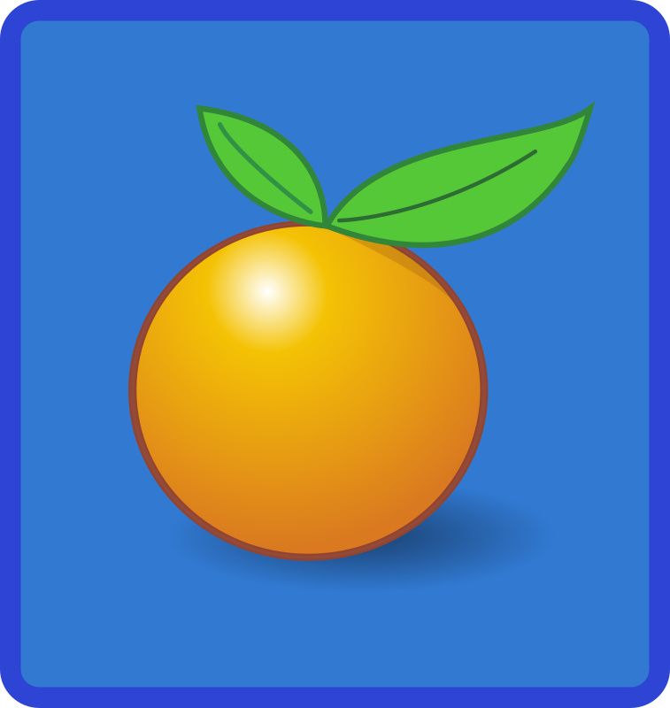 tile orange by Anonymous - An icon or tile with a little orange or tangerine with two green leaves.