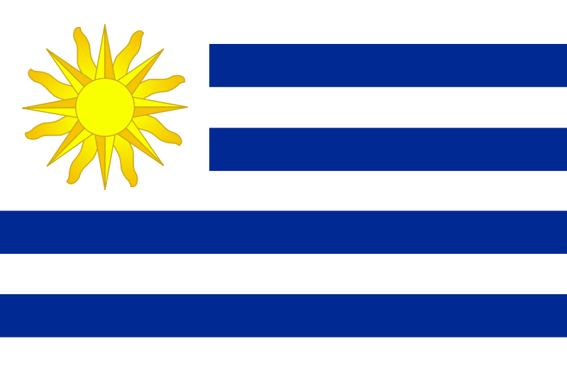 Flag of Uruguay by Anonymous - The flag of Uruguaywith bright sun and blue stripes.