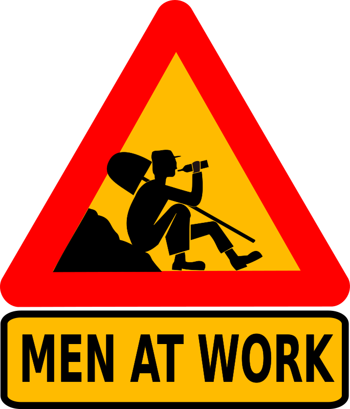 Men at work by dominiquechappard - Another road sign with text.