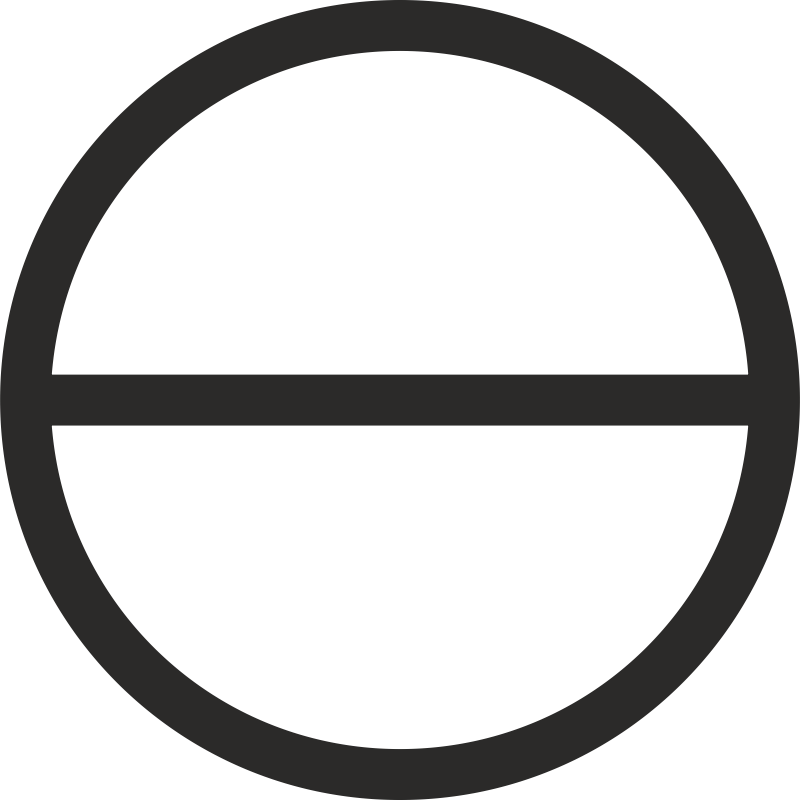 Circle with Horizontal diameter by alkon - Archaic symbol of the Divine Mother-Nature within an all-embracing Absolute Infinitude. First manifestation of the creative but still passive Matter-Nature. More info: http://www.philaletheians.co.uk/Study%20notes/Theosophy%20and%20Theosophists/Keys%