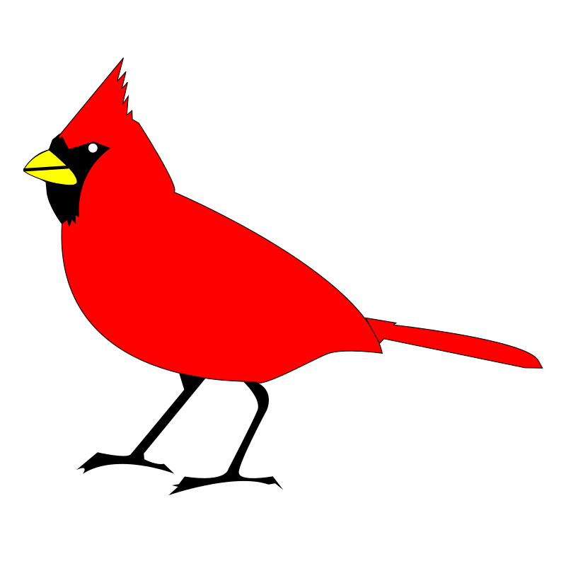 Cardinal remix 2 by 10binary - This version doesn't have the feather and tail details. Everything in it is traced from the original to remake the shapes with fewer nodes. As a result, the svg file is so tiny compared to the original image and the first remix.