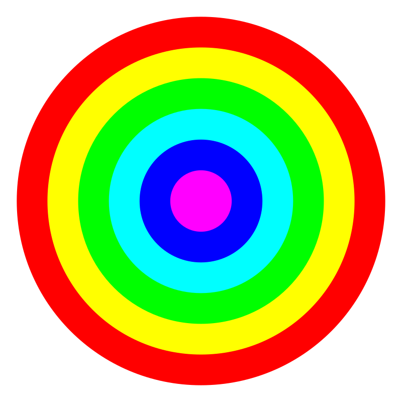 rainbow circle target 6 color by 10binary - rainbow circle target 6 color