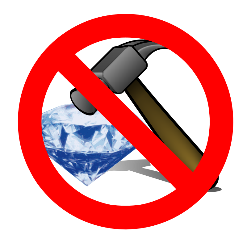 "No breaking a diamond with a hammer by jhnri4 - A hammer placed on top of the diamond overlaid with the ""No"" sign."