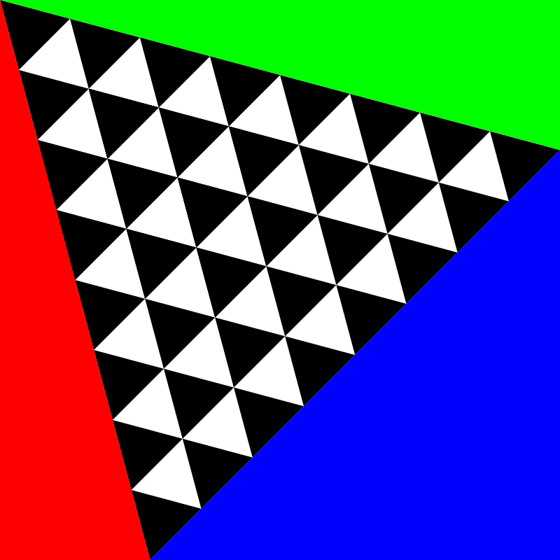 square meets triangles by 10binary - I am very proud of this picture. For so long I've been trying to find a way to fit regular triangles into a square. I found that it works if I rotate the triangles just right.