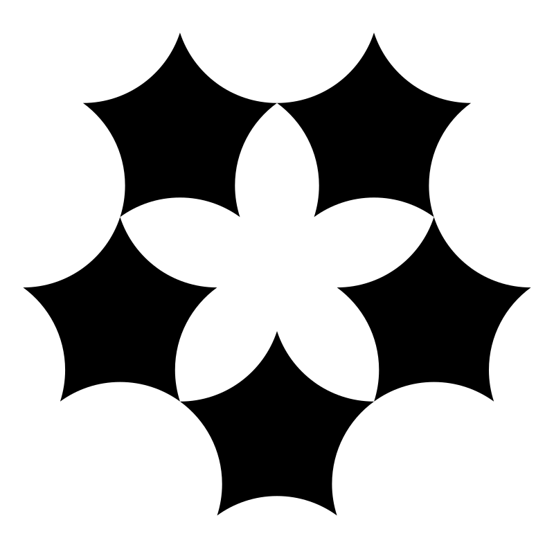 pentaflower by 10binary - I made some rounded pentagons and then made a type of pentagram flower thing