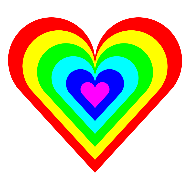 6 color heart by 10binary - like a rainbow except 6 colors and in the shape of a heart. based on the zebra heart