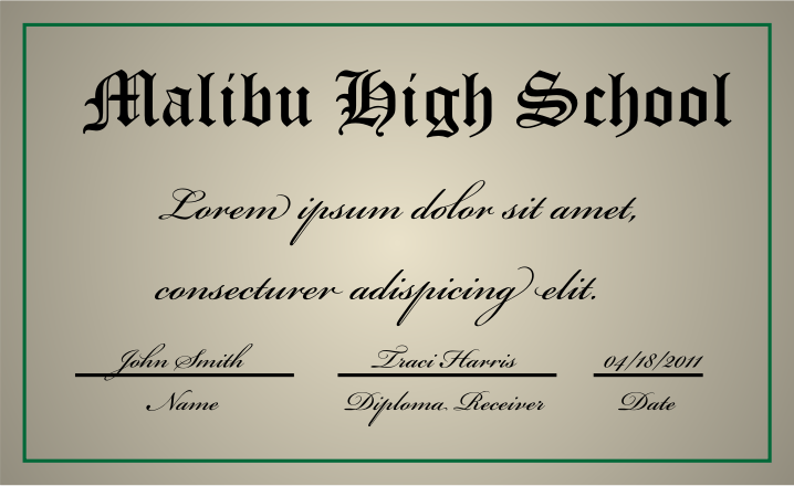 A high school diploma by jhnri4 - A high school diploma made from scratch in Adobe Illustrator.