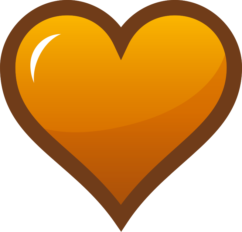 "Orange Heart Icon by pianoBrad - A heart icon, useful for sites in need of a favorites system. Specifically, this could be used to indicate an item that has already been ""favorited""."