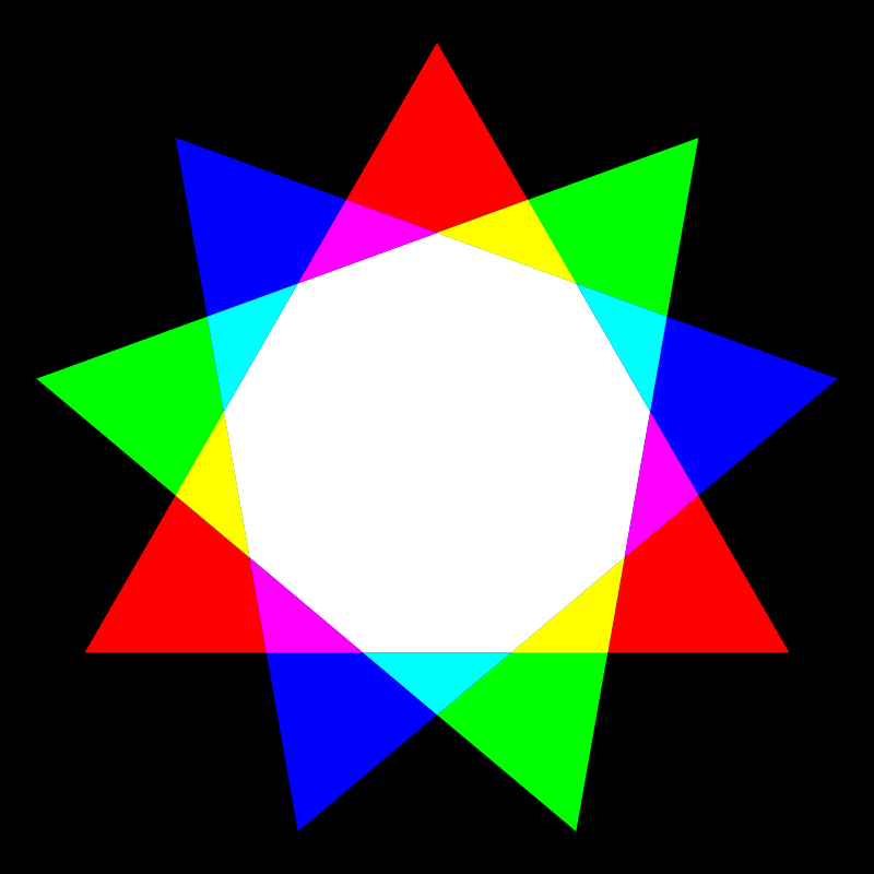 nonagon rgb mix by 10binary - this is a slight variation on an image I saw on wikipedia.