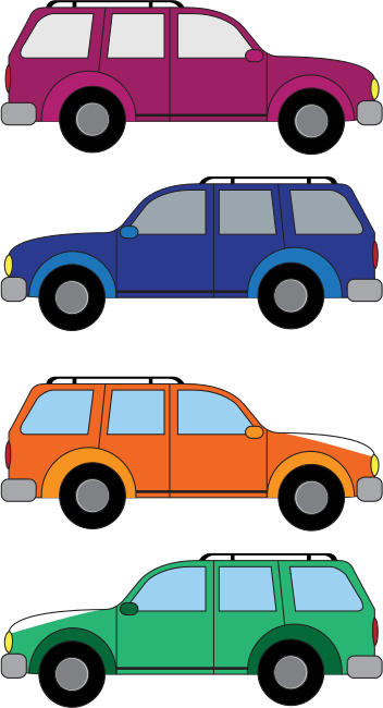 SUV cars by waros - Four SUV trucks in bright colors