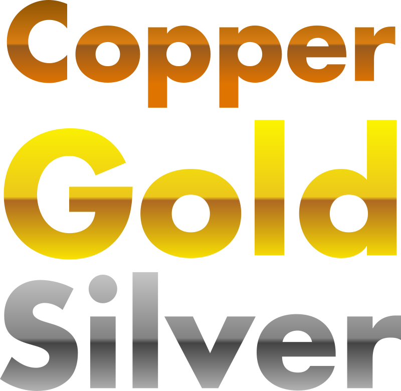 Copper, gold, and silver gradients by jhnri4 - Copper, gold, and silver gradient templates. Just choose one of the gradients and delete two of the words. For example, if you want to use a gold gradien