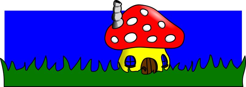 MushroomHome by artmaster - A little house for gnomes or fairies, made of a mushroom and standing on green grass with a blue sky in the background.