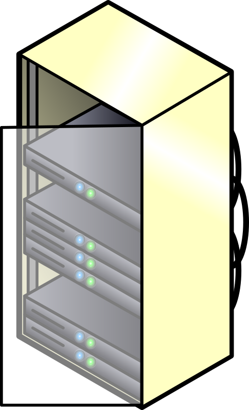 Servers by ericlemerdy - A server rack with an open glass door and some active servers inside.