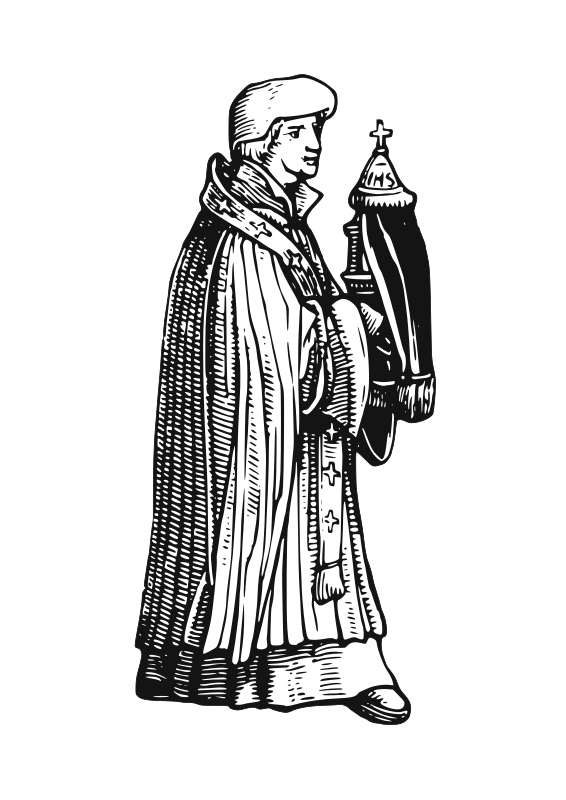 "medieval priest with sacrament by AJ - Element extracted from ""The Priest"" of Hans Holbein's Dance of Death woodcuts"