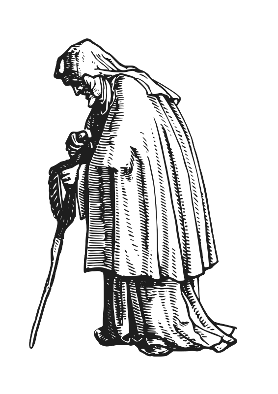 "robed old woman by AJ - Element extracted from ""The Old Woman"" of Hans Holbein's Dance of Death woodcuts"