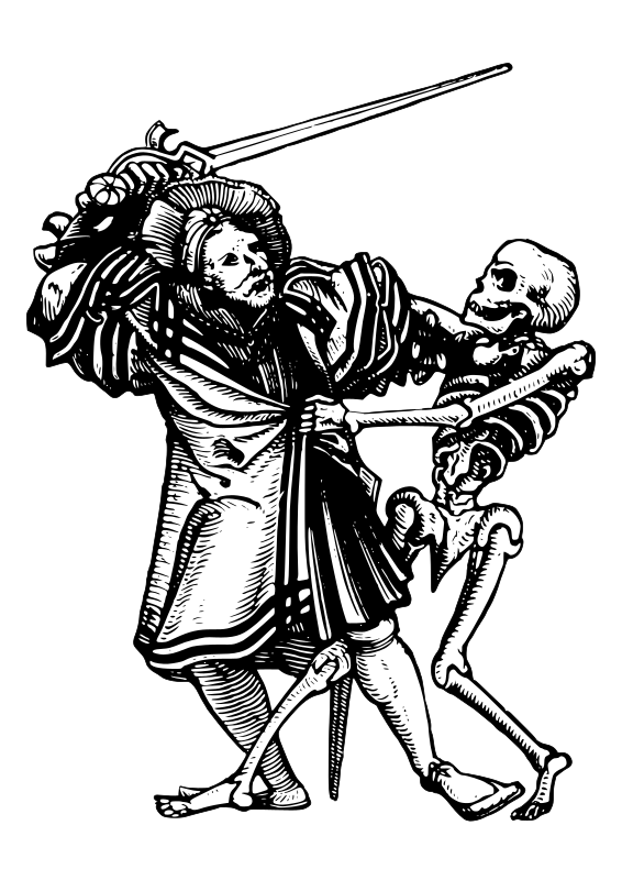 man fighting death by AJ - A scene from medieval danse macabre.