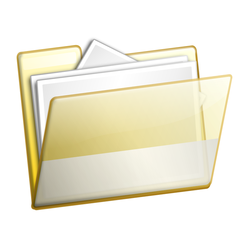 Simple Folder Documents by sarxos - A folder with transparent outside so you may see the paper inside of the folder.