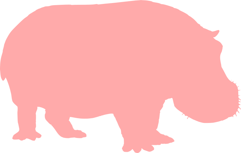 Hippo Silhouette by annaleeblysse - Made the Pearson Scott Foresman image via papapishu into a silhouette of a hippopotamus. I picked pink for the display color.