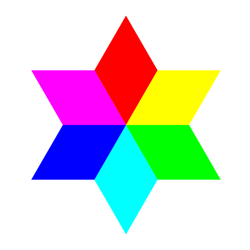 6 color diamond hexagram by 10binary - 6 color diamond hexagram