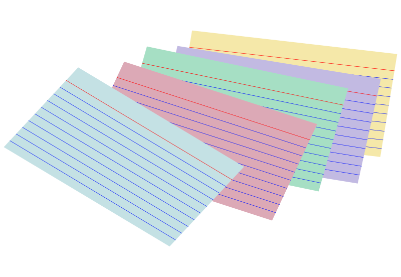 Stack of colored index cards by snifty