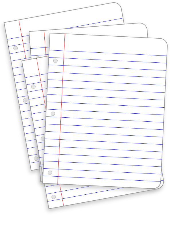 messy lined papers by snifty - A sheet of lined paper and a file with the same scattered about.