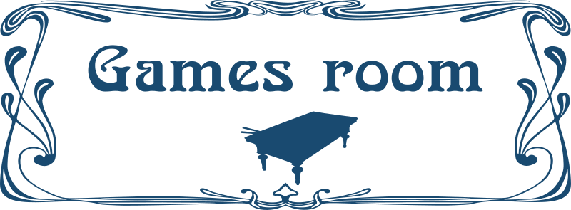 Games room door sign by Moini - Door sign for games room or rec room with a billiard table silhouette in art nouveau style, part of a series.