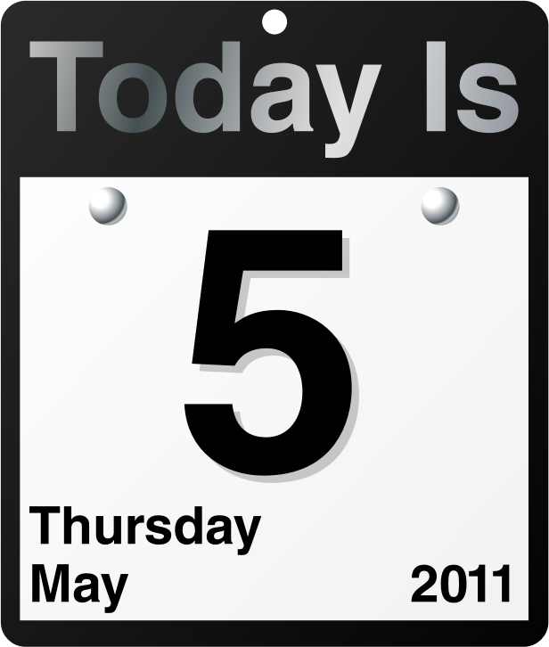 """Today Is"" calendar by jhnri4 - A ""Today Is"" calendar. The date on the calendar is Thursday, May 5, 2011."