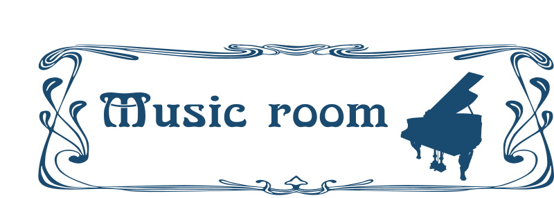 Music room door sign by Moini - Music room door sign with a piano silhouette in art nouveau style, part of a series.