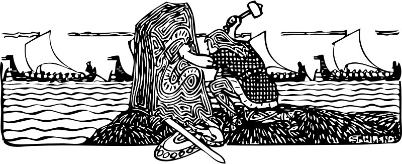 Viking scene by johnny_automatic - illustration of a Viking carving a stone stele with ships in background from http://runeberg.org/ordochbild/