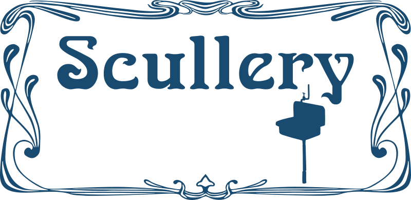 Scullery door sign by Moini - Door sign for your scullery in art nouveau style, if your home is still lacking one you can also stick it on your dishwasher, for example. Part of a series.