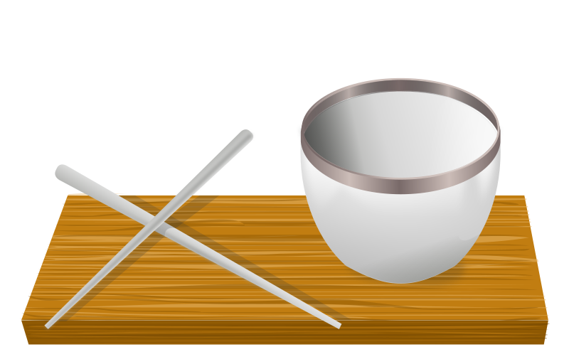 Rice bowl with chopsticks by rg1024 - An empty rice bowl on a small slat with two chopsticks lying next to it.