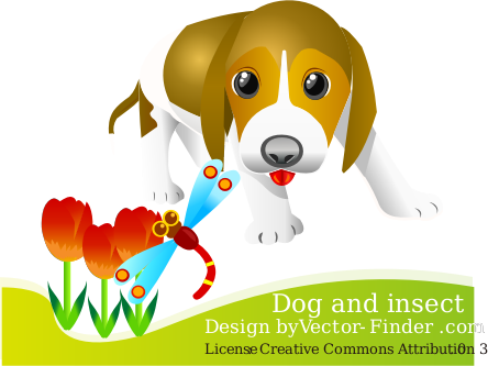 Free Vector Dog by vector-finder - A dog playing in grass.