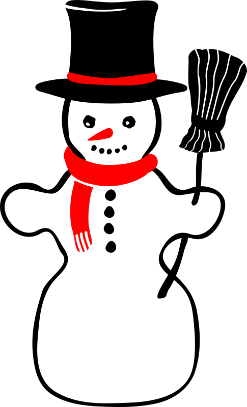 snowman by artmaster - A snowman in retro style with only red and black colors, holding up a broomstick and wearing a hat and scarf.