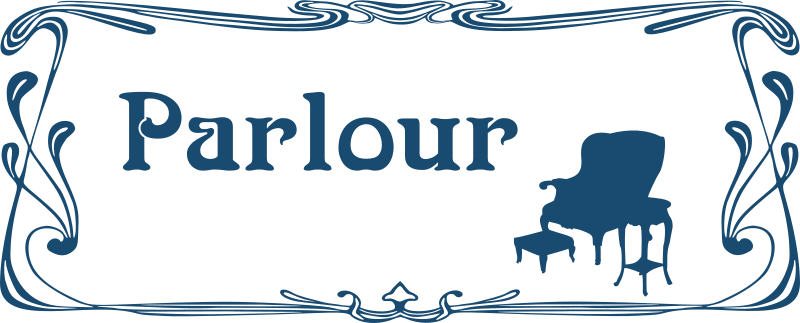 Parlour door sign by Moini - Parlour door sign in art nouveau style with an armchair, a small table and a footstool, part of a series.