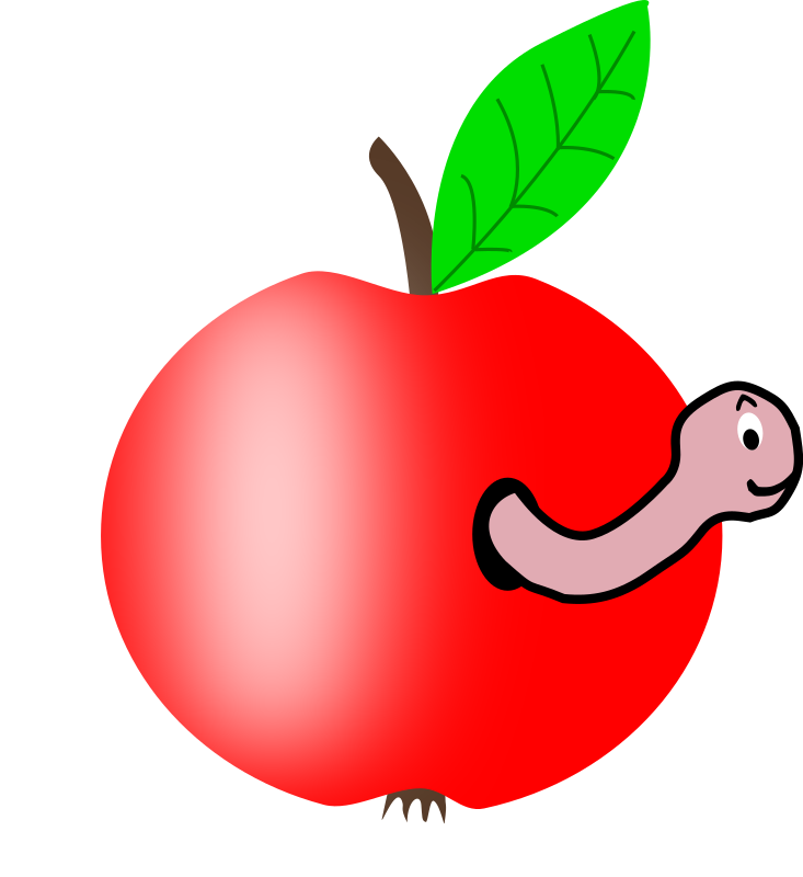 Apple Red with a Green Leaf with funny Worm by palomaironique